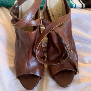 Vintage Italian leather shoes with wood heel